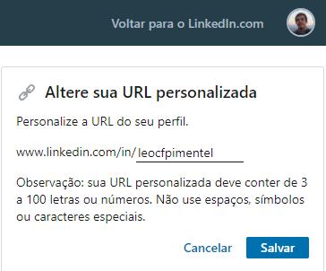 URL Personalizada no LinkedIn